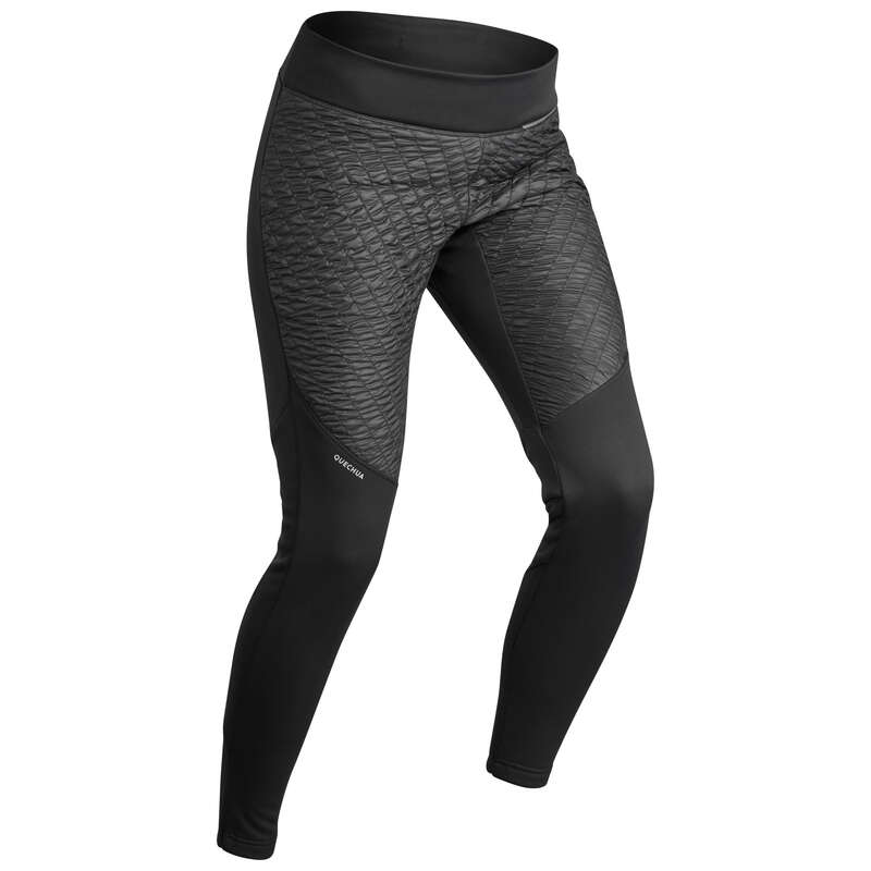 WOMEN SNOW HIKING WARM PANTS & FLEECES Hiking - W WARM LEGGINGS SH500 - BLACK QUECHUA - Hiking Clothes