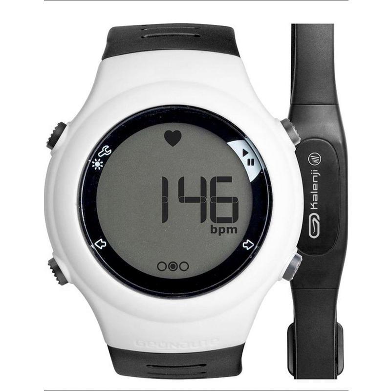 Běžecké hodinky s měřením tepové frekvence ONrhythm 110 bílo-černé