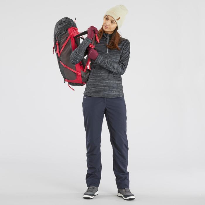 女款超保暖雪地健行中筒靴SH500-咖啡色