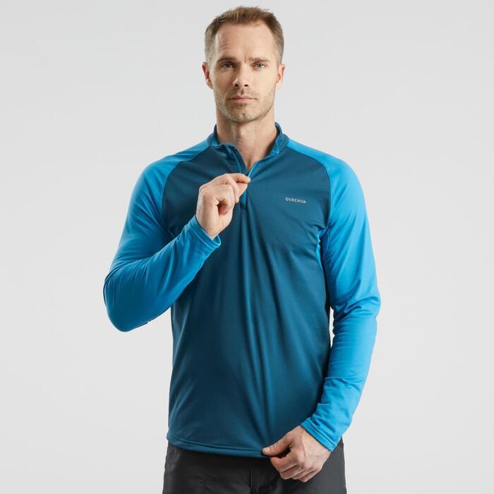 Camiseta de manga larga de senderismo nieve hombre SH100 warm azul.