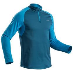 Wandelshirt met lange mouwen voor de sneeuw heren SH100 Warm blauw