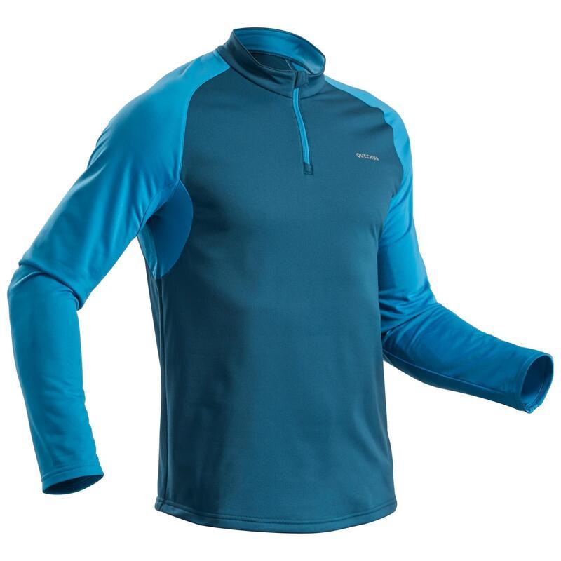 Pánské turistické hřejivé tričko s dlouhým rukávem SH100 Warm modré