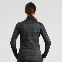 SH500 Women's Warm Black Long-Sleeved Snow Hiking Shirt
