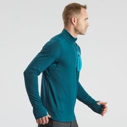 Tee-shirt de randonnée neige manches longues homme SH500 warm bleu.