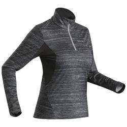 女款雪地健行保暖長袖T恤SH500-黑色