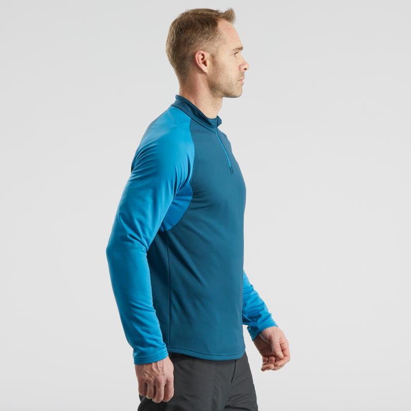 Men's Long-Sleeve Snow Hiking T-shirt SH100 – Blue.