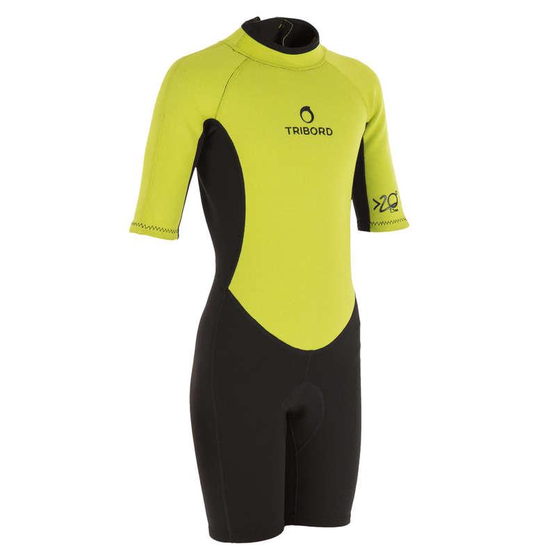 WARM WATER SPRINGSUIT - 100 Jr Shorty Surf Suit Green OLAIAN