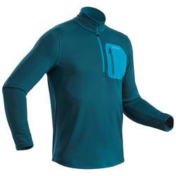 男款雪地健行保暖長袖T恤SH500 -藍色。