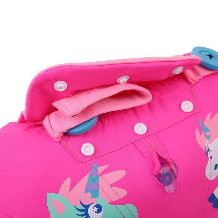 Armbandjes + zwemband zwemhulp voor kinderen TISWIM roze met eenhoornprint