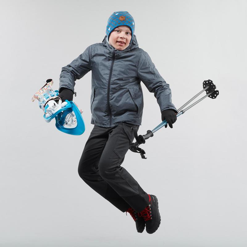 รองเท้าเด็กหุ้มข้อให้ความอบอุ่นแบบเชือกผูกสำหรับเดินป่าท่ามกลางหิมะรุ่น SH100 Warm (สีดำ)