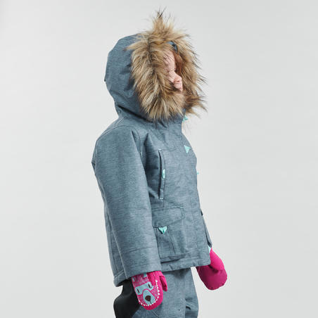 Girls' 2-6 Years Snow Hiking Warm Jacket SH500 U-Warm - Grey