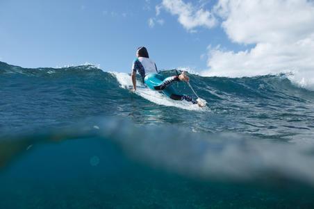 WOMEN'S UV-RESISTANT 500 SURF LEGGING BLACK AND TURQUOISE