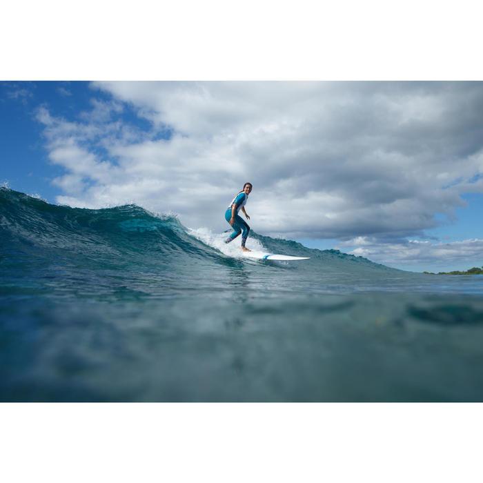 UV-Shirt Surfen Top 500 kurzarm Damen türkis/weiß
