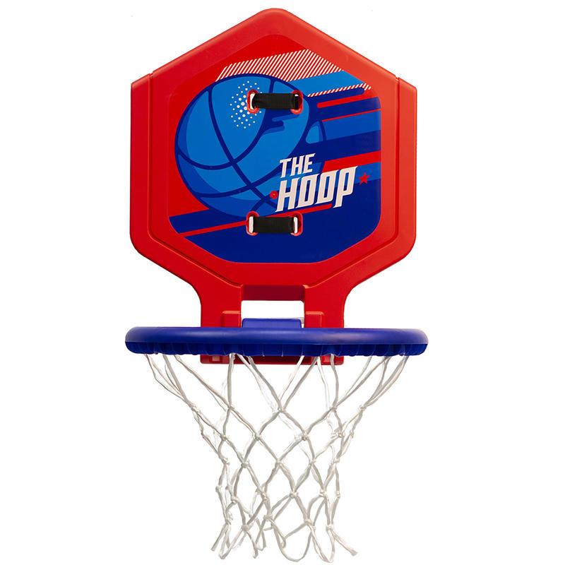 Canasta de básquetbol júnior/adulto THE HOOP 500 balón azul rojo. Transportable.