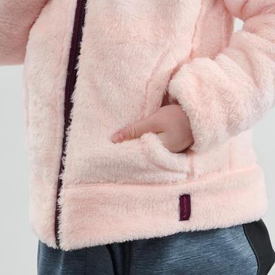 מעיל פליז חם להליכה בשלג מדגם SH100 לילדים - ורוד