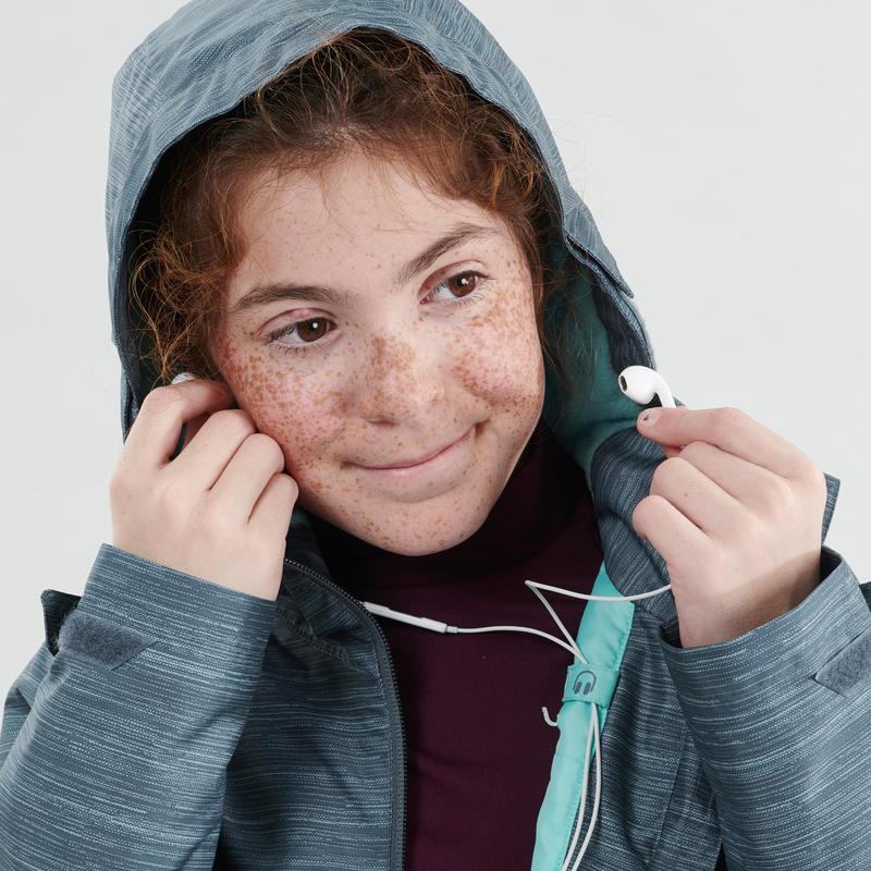 Chaqueta cálida impermeable de senderismo nieve SH100 WARM niña 8-14 años gris