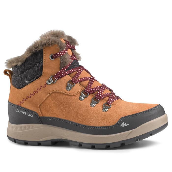 Winterschuhe Winterwandern SH500 X-Warm halbhoch Damen kamelbraun