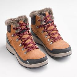 女款超保暖雪地健行中筒鞋SH500-駝色