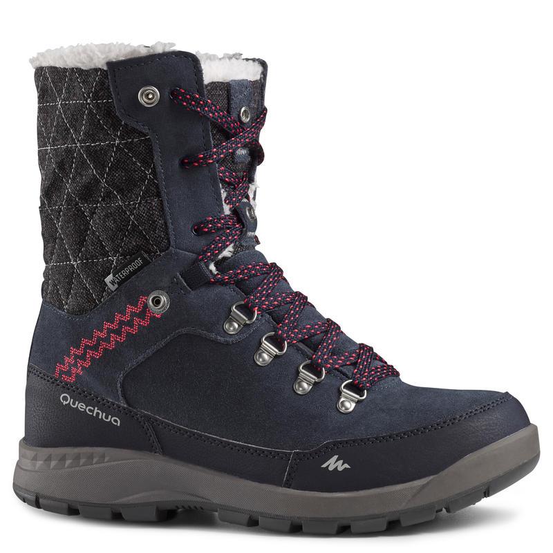 Chaussures de randonnée neige femme SH500 x-warm hautes bleu