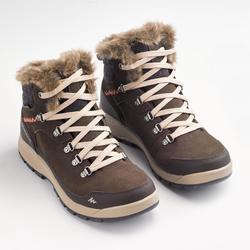 Wandelschoenen voor de sneeuw dames SH500 X-warm mid koffiebruin