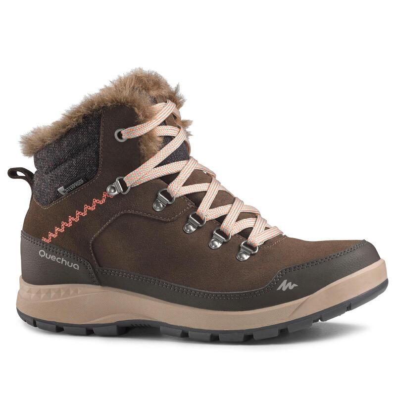 Warme waterdichte leren wandelschoenen voor dames SH500 X-WARM