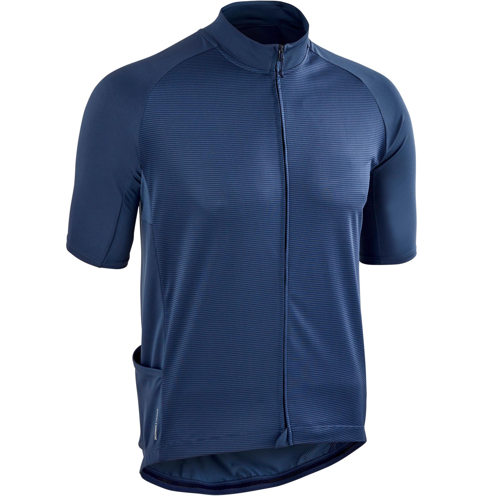 Triban Wielershirt RC100 met korte mouwen heren marineblauw kopen