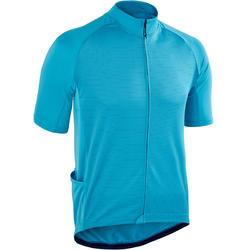Fietsshirt met korte mouwen warm weer heren wielertoerisme RC100 blauw