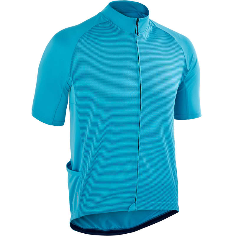 MEN WARM WEATHER ROAD CYCLING APPAREL Cycling - RC 100 Short Sleeve Cycling Jersey - Blue TRIBAN - Cycling