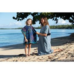 Surf poncho voor volwassenen 100 blauw