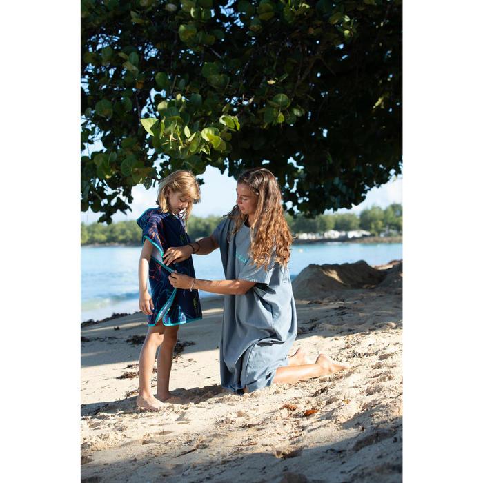 Poncho Toalla Playa Surf Olaian Tucán Niño Azul Estampado Cambiador