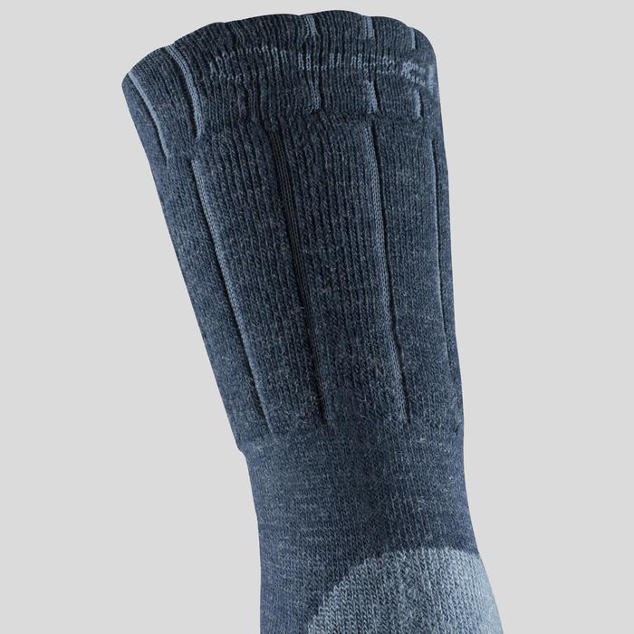 Chaussettes chaudes de randonnée adulte SH100 warm mid bleues.