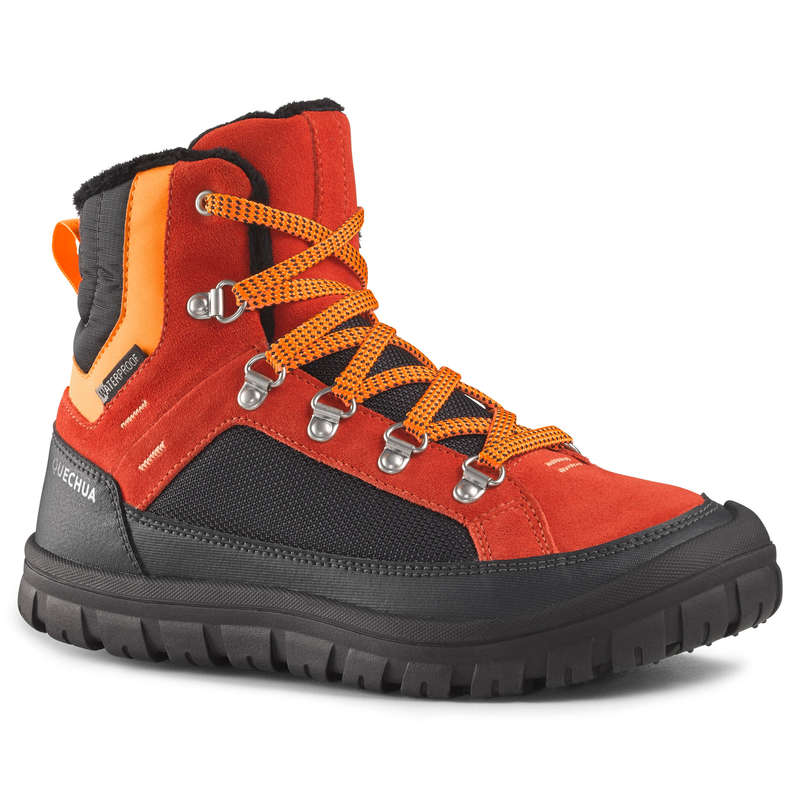 CHILDREN SNOW HIKING WARM SHOES & BOOTS Hiking - SH500 JR LACE-UP BOOTS - RED QUECHUA - Outdoor Shoes