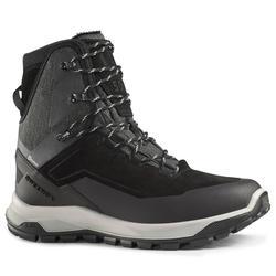 男款超保暖雪地健行高筒鞋SH500-黑色。