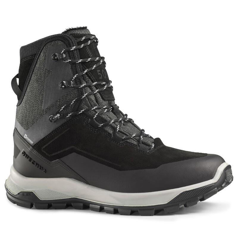 Ghete călduroase impermeabile din piele Drumeție pe zăpadă SH500 U-WARM Bărbați