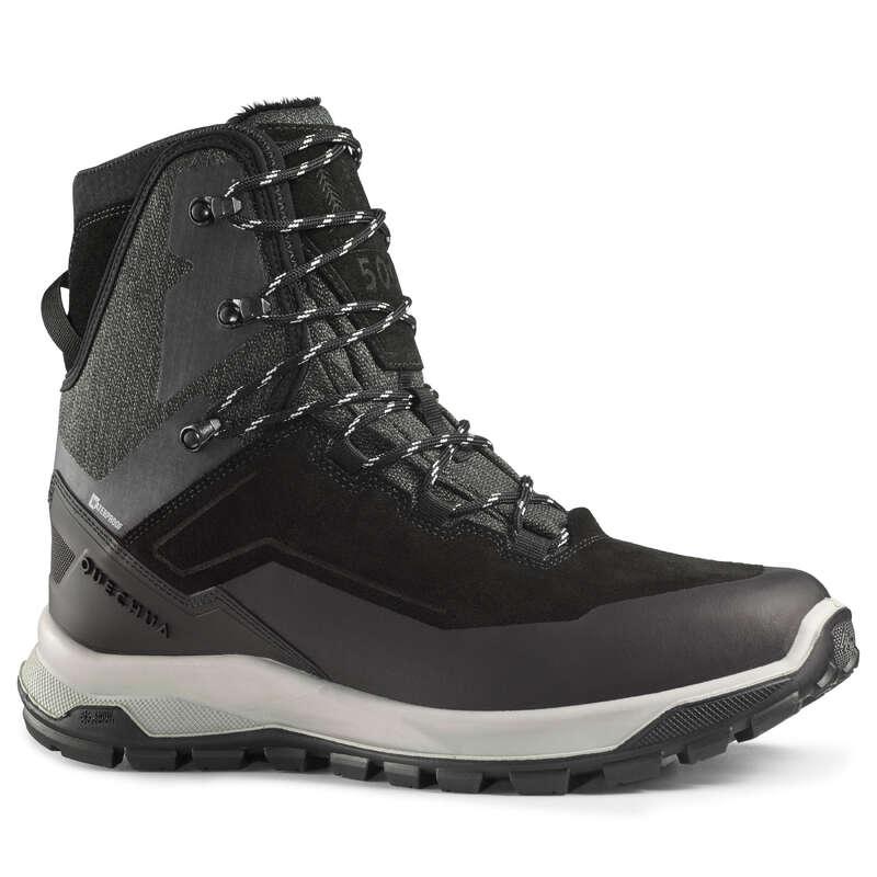 MEN SNOW HIKING WARM SHOES & GRIPS Hiking - M SH SH500 U-Warm High - Black QUECHUA - Outdoor Shoes