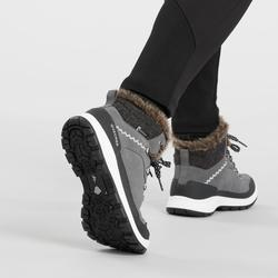 女款超保暖雪地健行中筒靴SH500-灰色