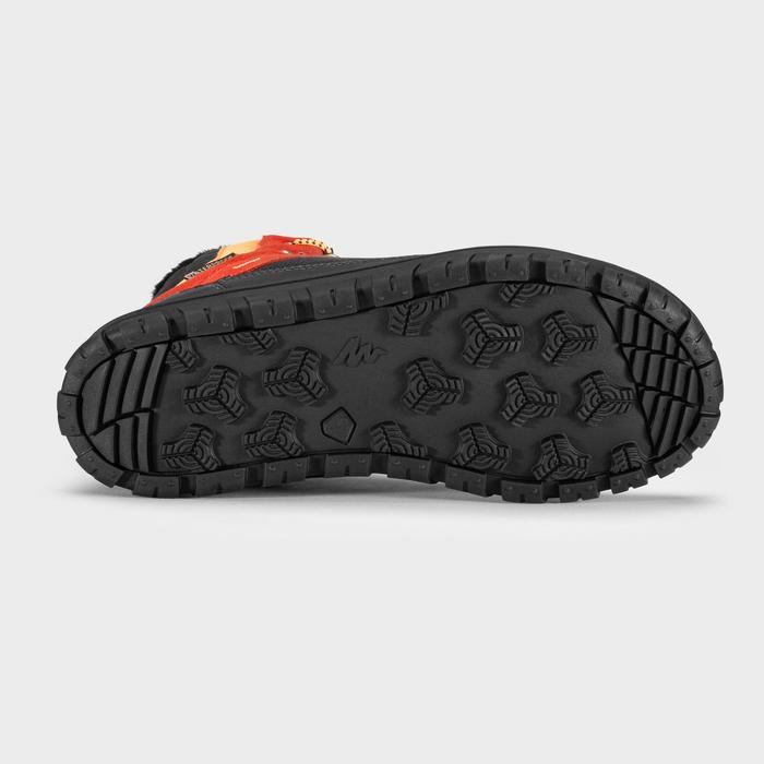Chaussures chaudes de randonnée neige enfant SH500 warm lacet mid rouges