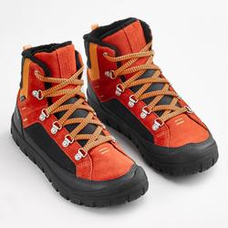 兒童款保暖繫帶式雪地健行中筒靴SH500-紅色