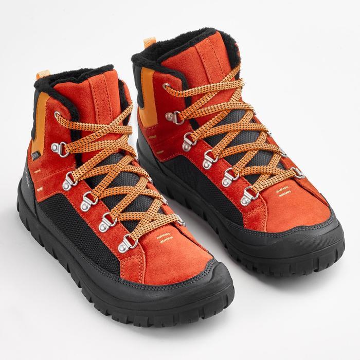 Warme wandelschoenen voor de sneeuw kinderen SH500 Warm veters mid rood