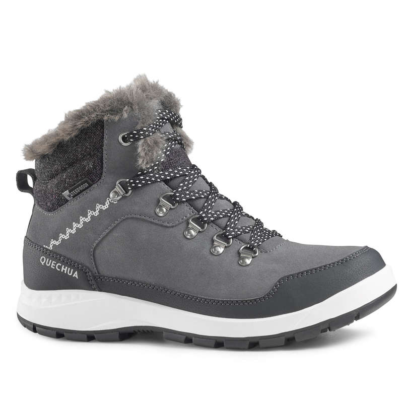WOMEN SNOW HIKING WARM SHOES Hiking - W Boots SH500 X-Warm - Grey QUECHUA - Outdoor Shoes