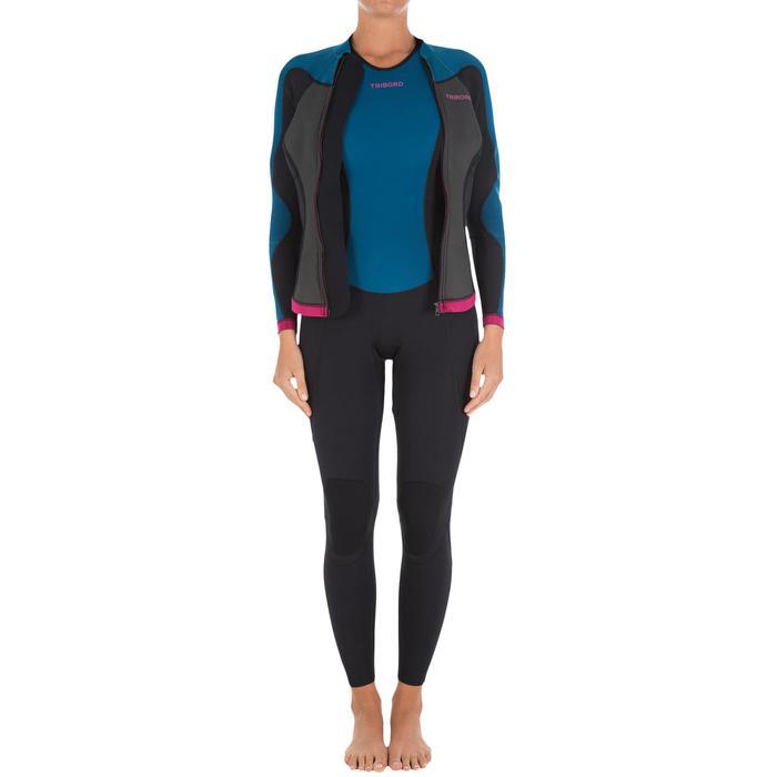 Haut de combinaison surf néoprène Top 500 Manches Longues Femme Bleu Rose - 164963