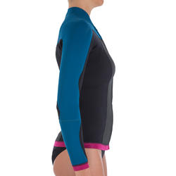 Neopreen top 500 met lange mouwen voor dames, voor surfen, blauw/roze - 164971