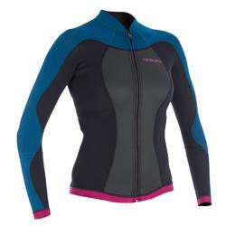 女款長袖衝浪溼式潛水上衣(2 mm Neoprene)500-藍色/粉紅色