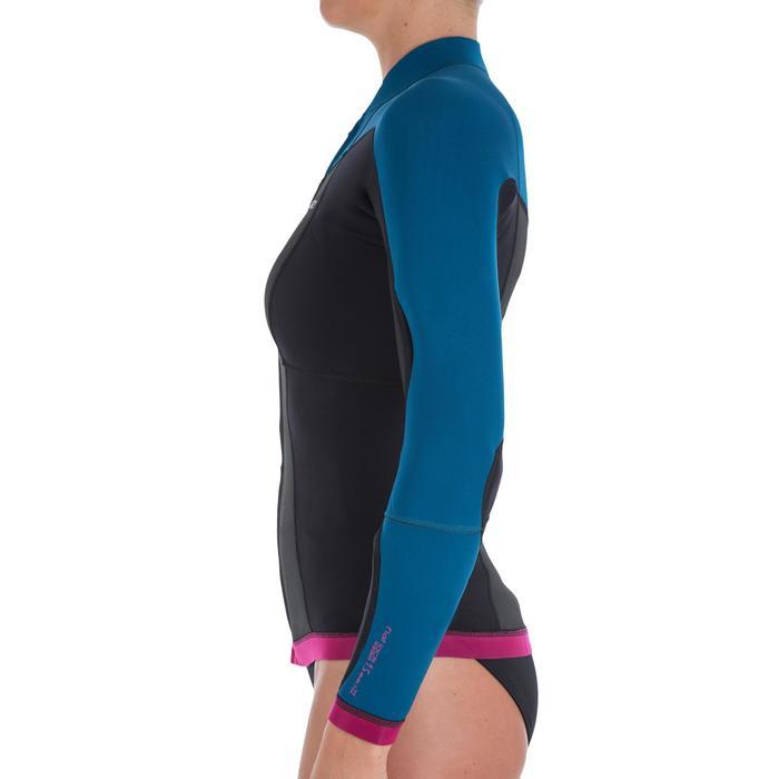 Haut de combinaison surf néoprène Top 500 Manches Longues Femme Bleu Rose - 164975