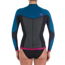 Neopreen top 500 met lange mouwen voor dames, voor surfen, blauw/roze - 164977