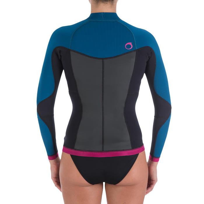 Haut de combinaison surf néoprène Top 500 Manches Longues Femme Bleu Rose - 164977