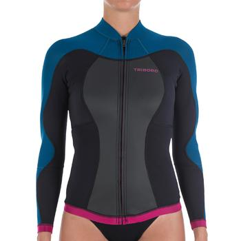 Haut de combinaison surf néoprène Top 500 Manches Longues Femme Bleu Rose - 164978