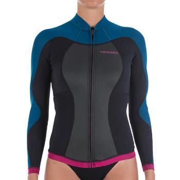 Haut de combinaison surf néoprène Top 500 Manches Longues Femme Bleu Rose