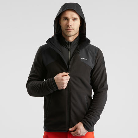 Men's X-Warm Snow Hiking Fleece Jacket SH500 - Black