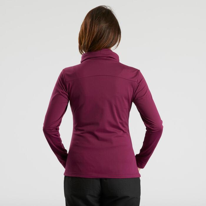 Tee-shirt de randonnée neige manches longues femme SH100 warm violet